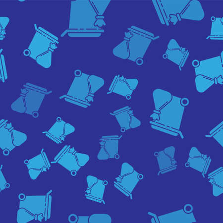 Blue Trash can and garbage bag icon isolated seamless pattern on blue background. Garbage bin sign. Recycle basket icon. Office trash icon. Vector Illustration Ilustracja