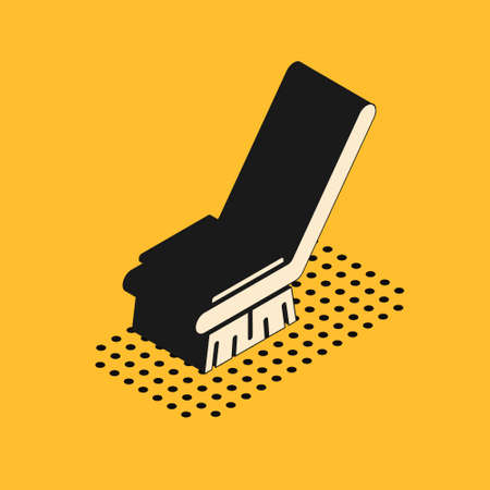 Isometric Brush for cleaning icon isolated on yellow background. Cleaning service concept. Vector Illustration