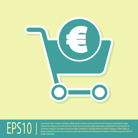 Green Shopping cart and euro symbol icon isolated on yellow background. Online buying concept. Delivery service. Shopping cart. Vector Illustration