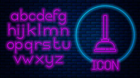 Glowing neon Rubber plunger with wooden handle for pipe cleaning icon isolated on brick wall background. Toilet plunger. Neon light alphabet. Vector Illustration Stock Illustratie