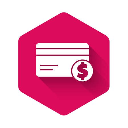White Credit card and dollar symbol icon isolated with long shadow. Online payment. Cash withdrawal. Financial operations. Pink hexagon button. Vector Illustration Vectores
