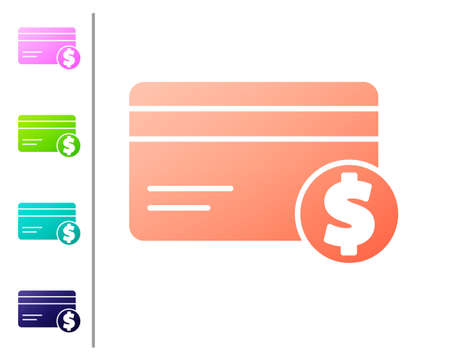 Coral Credit card and dollar symbol icon isolated on white background. Online payment. Cash withdrawal. Financial operations. Set color icons. Vector Illustration