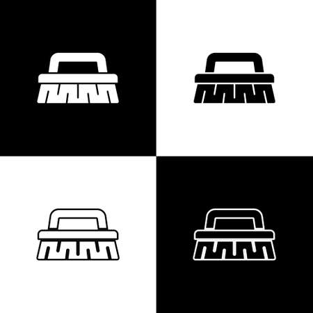 Set Brush for cleaning icon isolated on black and white background. Cleaning service concept. Vector Illustration