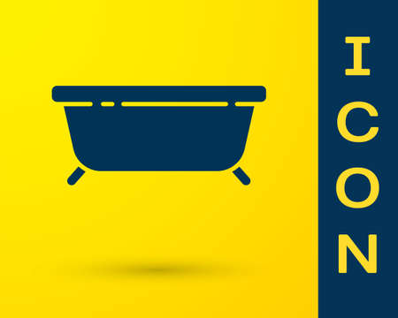 Blue Bathtub icon isolated on yellow background. Vector Illustration Stock Illustratie