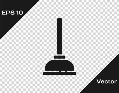 Black Rubber plunger with wooden handle for pipe cleaning icon isolated on transparent background. Toilet plunger. Vector Illustration