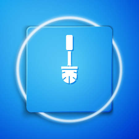 White Toilet brush icon isolated on blue background. Blue square button. Vector Illustration