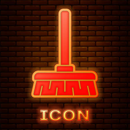 Glowing neon Handle broom icon isolated on brick wall background. Cleaning service concept. Vector Illustration