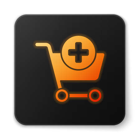 Orange glowing neon Add to Shopping cart icon isolated on white background. Online buying concept. Delivery service sign. Supermarket basket symbol. Black square button. Vector Illustration Illustration