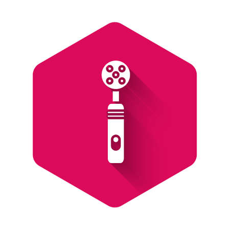 White Electric toothbrush icon isolated with long shadow. Medical instrument. Pink hexagon button. Vector Illustration