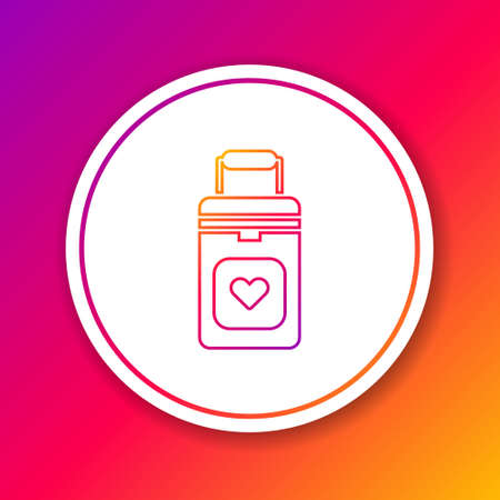 Color line Cooler box for human organs transportation icon isolated on color background. Organ transplantation concept. Organ container. Circle white button. Vector Illustration Ilustração