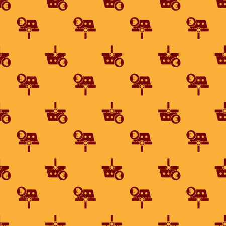 Red Shopping basket and euro symbol icon isolated seamless pattern on brown background. Online buying concept. Delivery service. Shopping cart. Vector Illustration