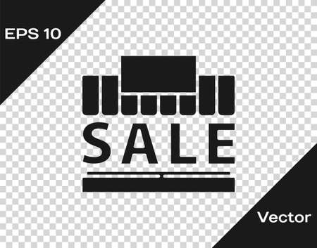 Black Shopping building or market store icon isolated on transparent background. Supermarket sale concept. Vector Illustration