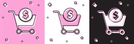 Set Shopping cart and dollar symbol icon isolated on pink and white, black background. Online buying concept. Delivery service. Supermarket basket. Vector Illustration