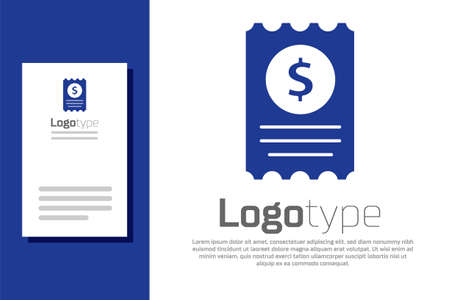 Blue Paper check and financial check icon isolated on white background. Paper print check, shop receipt or bill.