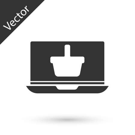 Grey Shopping basket on screen laptop icon isolated on white background. Concept e-commerce, e-business, online business marketing. Vector Illustration Illustration
