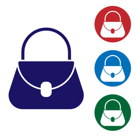 Blue Handbag icon isolated on white background. Female handbag sign. Glamour casual baggage symbol. Set icons in color square buttons. Vector Illustration Ilustração