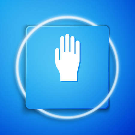 White Medical rubber gloves icon isolated on blue background. Protective rubber gloves. Blue square button. Vector Illustration