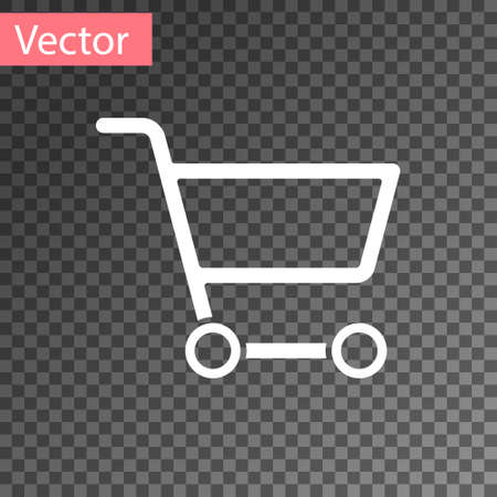 White Shopping cart icon isolated on transparent background. Online buying concept. Delivery service sign. Supermarket basket symbol. Vector Illustration