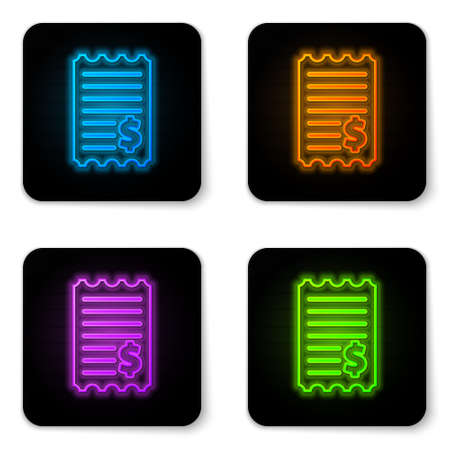 Glowing neon Paper check and financial check icon isolated on white background. Paper print check, shop receipt or bill. Black square button. Vector Illustration