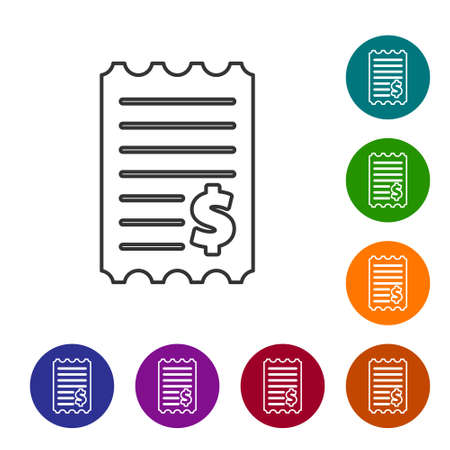 Black line Paper check and financial check icon isolated on white background. Paper print check, shop receipt or bill. Set icons in color circle buttons. Vector Illustration
