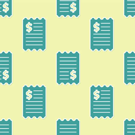 Green Paper check and financial check icon isolated seamless pattern on yellow background. Paper print check, shop receipt or bill. Vector Illustration Vectores