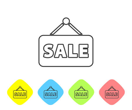 Grey line Hanging sign with text Sale icon isolated on white background. Signboard with text Sale. Set icons in color rhombus buttons. Vector Illustration
