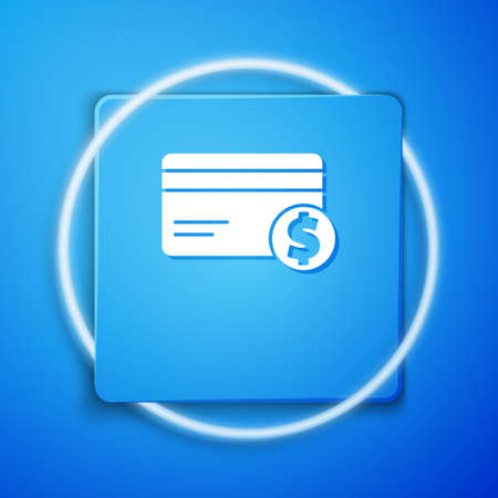 White Credit card and dollar symbol icon isolated on blue background. Online payment. Cash withdrawal. Financial operations. Blue square button. Vector Illustration