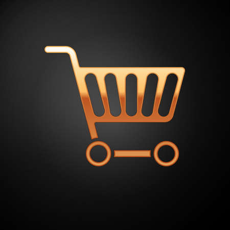 Gold Shopping cart icon isolated on black background. Online buying concept. Delivery service sign. Supermarket basket symbol. Vector Illustration