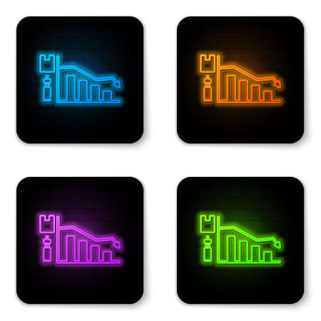 Glowing neon Ecology infographic icon isolated on white background. Black square button. Vector Illustration 矢量图像