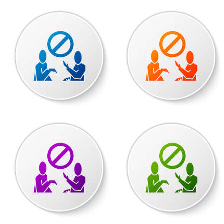 Color Stop plastic pollution icon isolated on white background. Ecological poster. Set icons in circle buttons. Vector Illustration