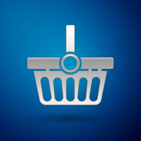 Silver Shopping basket icon isolated on blue background. Online buying concept. Delivery service sign. Shopping cart symbol. Vector Illustration Ilustracja