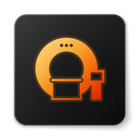 Orange glowing neon Tomography icon isolated on white background. Medical scanner, radiation. Diagnosis, radiology, magnetic resonance therapy. Black square button. Vector Illustration 矢量图像