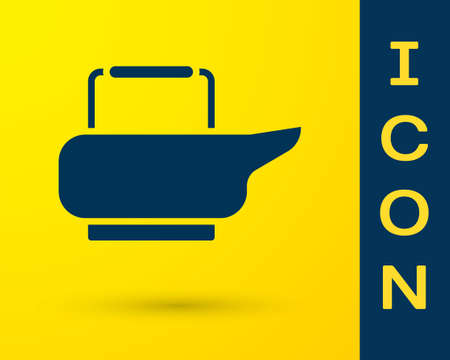 Blue Bedpan icon isolated on yellow background. Toilet for bedridden patients. Vector Illustration