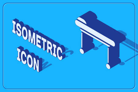 Isometric Stretcher icon isolated on blue background. Patient hospital medical stretcher. Vector Illustration