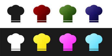 Set Chef hat icon isolated on black and white background. Cooking symbol. Cooks hat. Vector Illustration