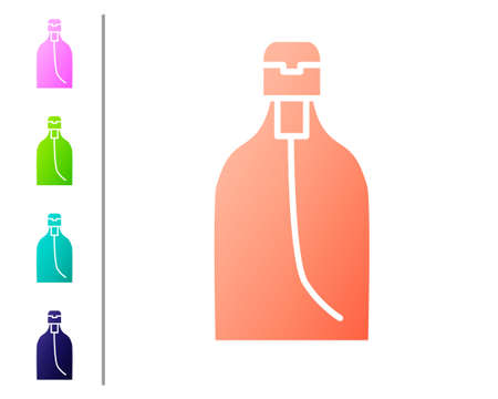 Coral Bottle of liquid antibacterial soap with dispenser icon isolated on white background. Disinfection, hygiene, skin care. Set color icons. Vector Illustration