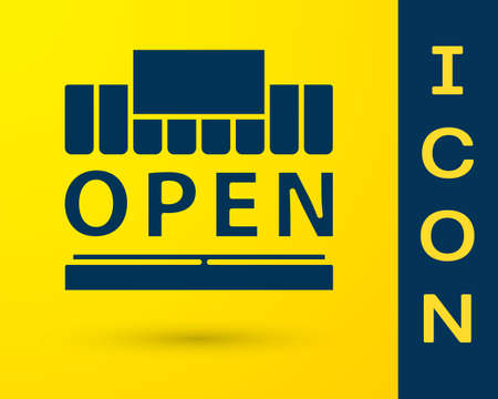 Blue Shopping building or market store and text open icon isolated on yellow background. Shop construction. Vector Illustration Stock Illustratie