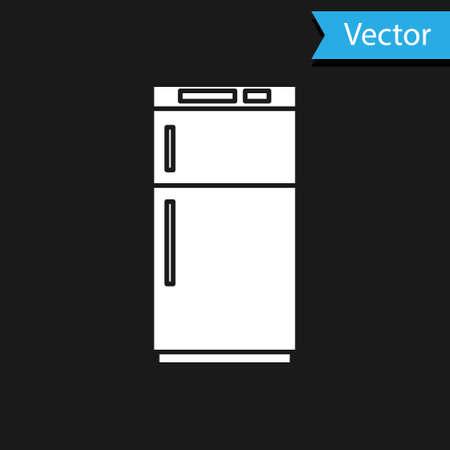 White Refrigerator icon isolated on black background. Fridge freezer refrigerator. Household tech and appliances. Vector Illustration