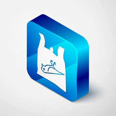 Isometric Dead bird, plastic icon isolated on grey background. Element of pollution problems sign. Blue square button. Vector Illustration