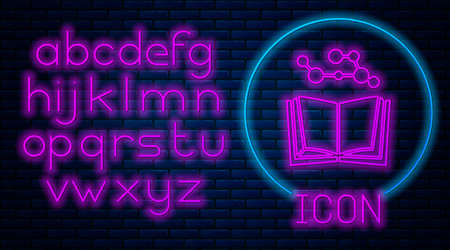 Glowing neon Open book icon isolated on brick wall background. Neon light alphabet. Vector Illustration