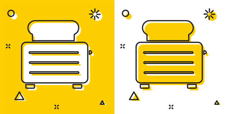 Black Toaster with toasts icon isolated on yellow and white background. Random dynamic shapes. Vector Illustration
