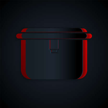 Paper cut Lunch box icon isolated on black background. Paper art style. Vector Illustration