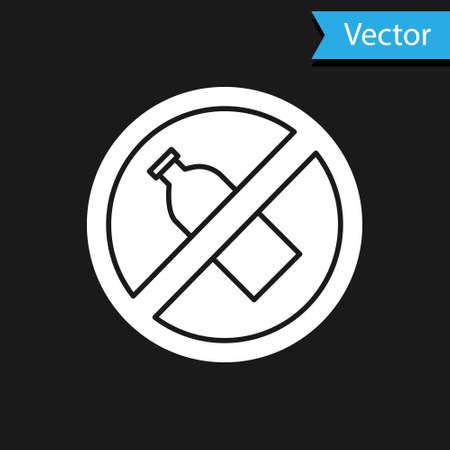 White No plastic bottle icon isolated on black background. Vector Illustration