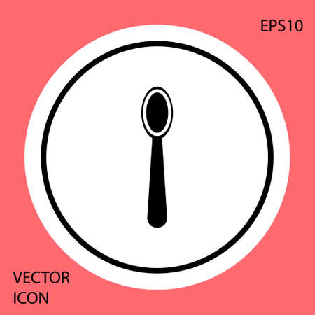 Black Disposable plastic spoon icon isolated on red background. White circle button. Vector Illustration 矢量图像