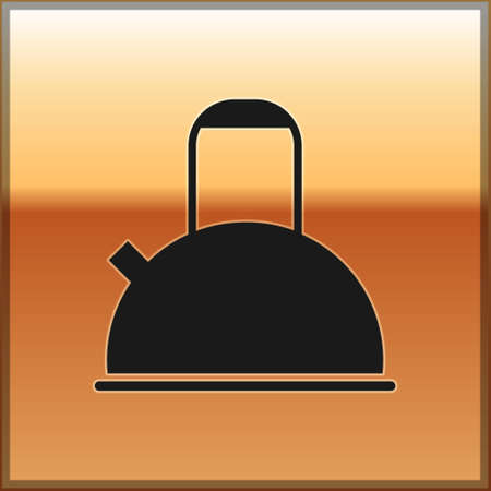 Black Kettle with handle icon isolated on gold background. Teapot icon. Vector Illustration