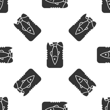 Grey Stop ocean plastic pollution icon isolated seamless pattern on white background. Environment protection concept. Fish say no to plastic. Vector Illustration