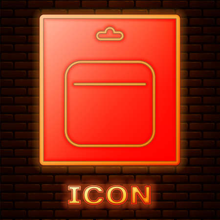 Glowing neon Battery in pack icon isolated on brick wall background. Lightning bolt symbol. Vector Illustration 矢量图像