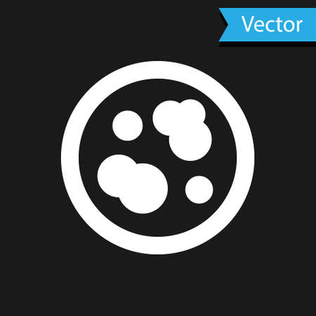 White Petri dish with bacteria icon isolated on black background. Vector Illustration