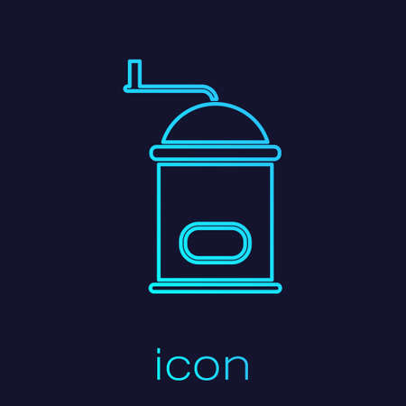 Turquoise line Manual coffee grinder icon isolated on blue background. Vector Illustration