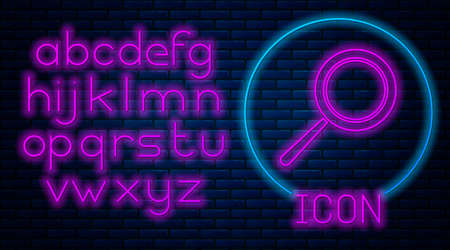 Glowing neon Frying pan icon isolated on brick wall background. Fry or roast food symbol. Neon light alphabet. Vector Illustration